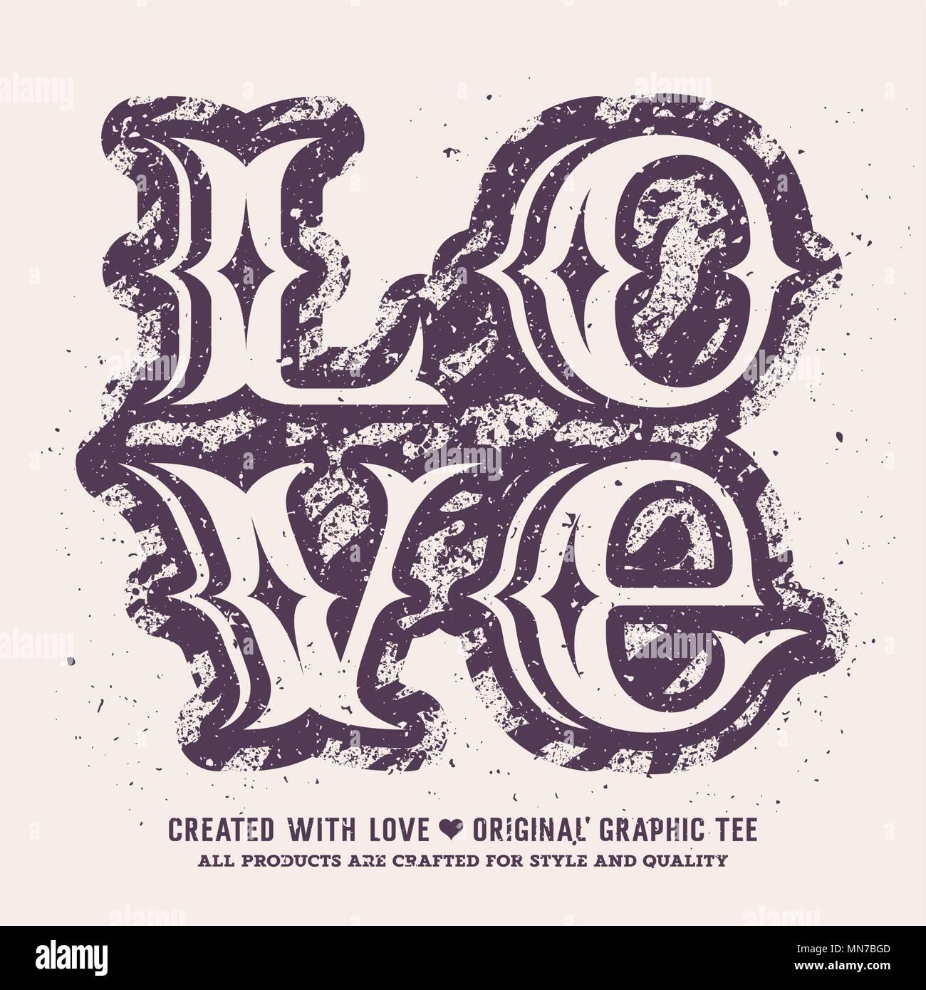 Liebe Schriftzug. Valentines Tag romantische Vector Illustration. T-shirt Bekleidung Grafiken drucken. Original Graphic Tee Stockbild