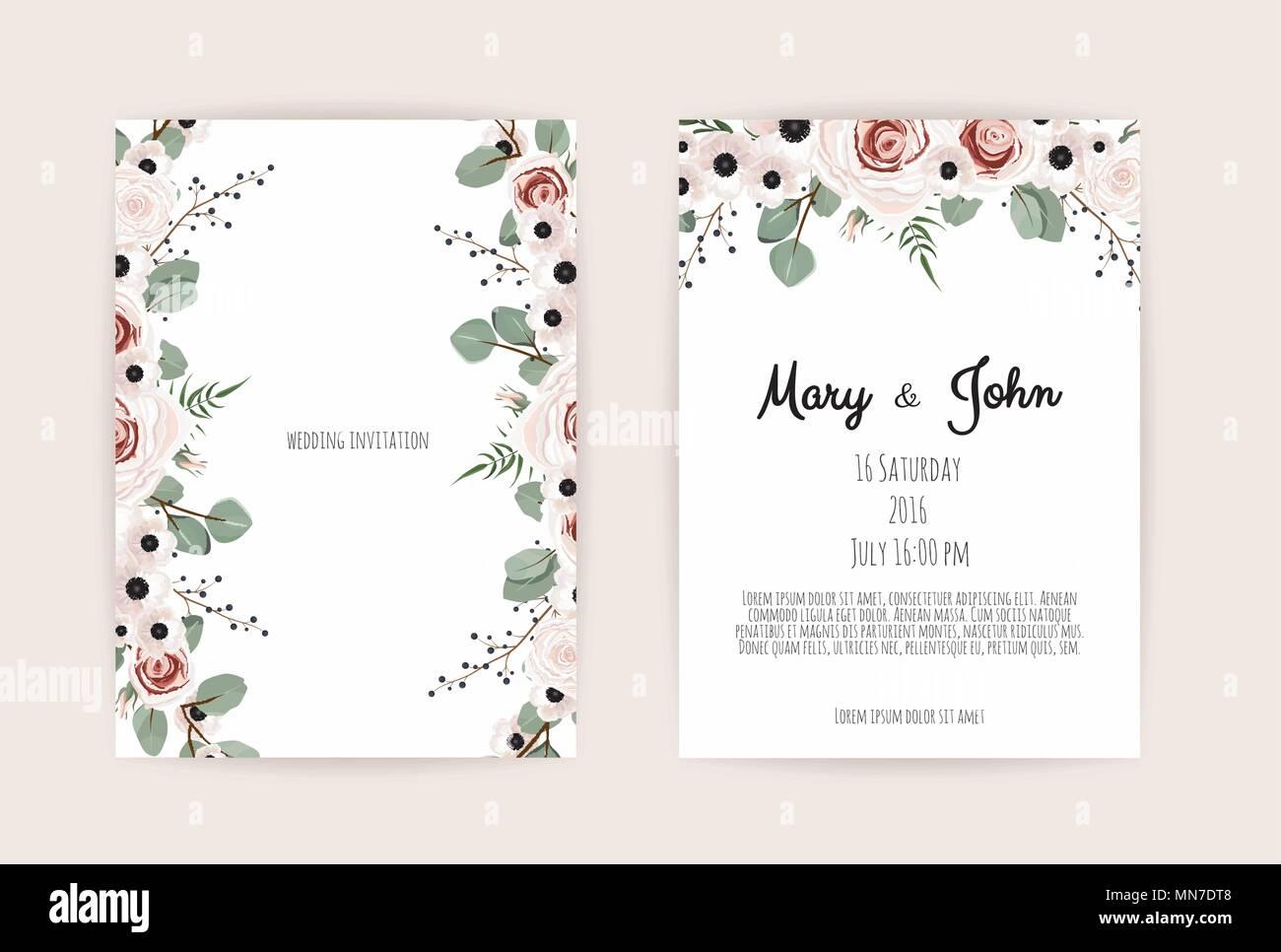 Blumen Hochzeit Einladung Botanische Karte Vektor Design Garten