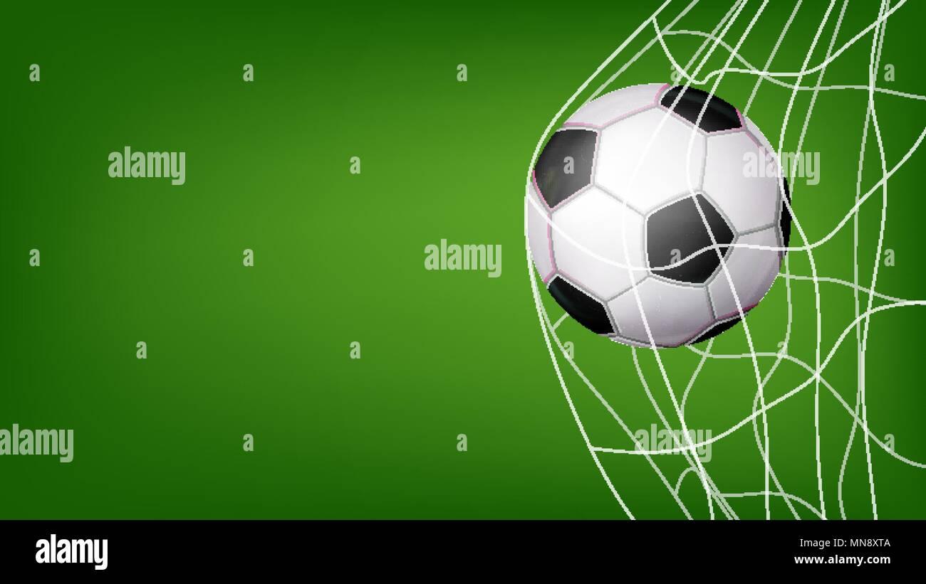 Fussball In Net Vektor Ziel Schlagen Einladung Sport Poster
