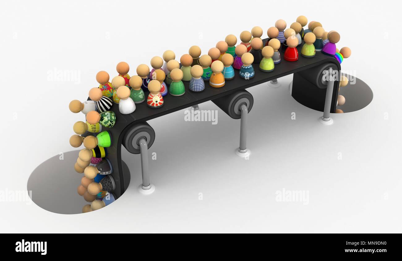 Masse von kleinen symbolischen Figuren Förderband, 3D-Darstellung, horizontal Stockfoto
