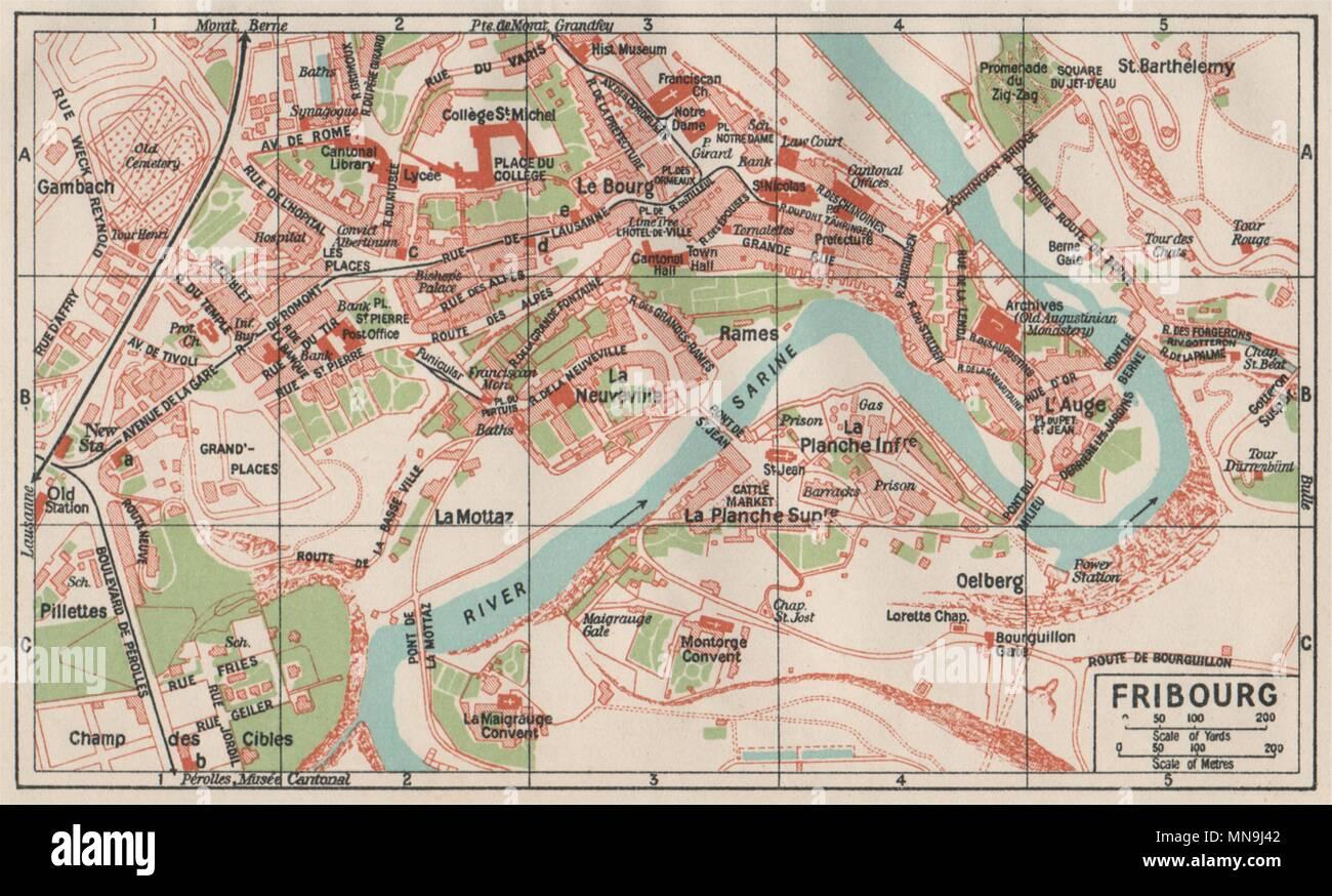 FRIBOURG. Vintage Town City Karte planen. Schweiz 1930 alte ...