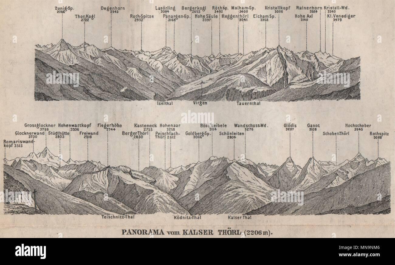 Großglockner Karte.Kalser Thörl Panorama Großglockner Kals Hohen Tauern Kleine 1899