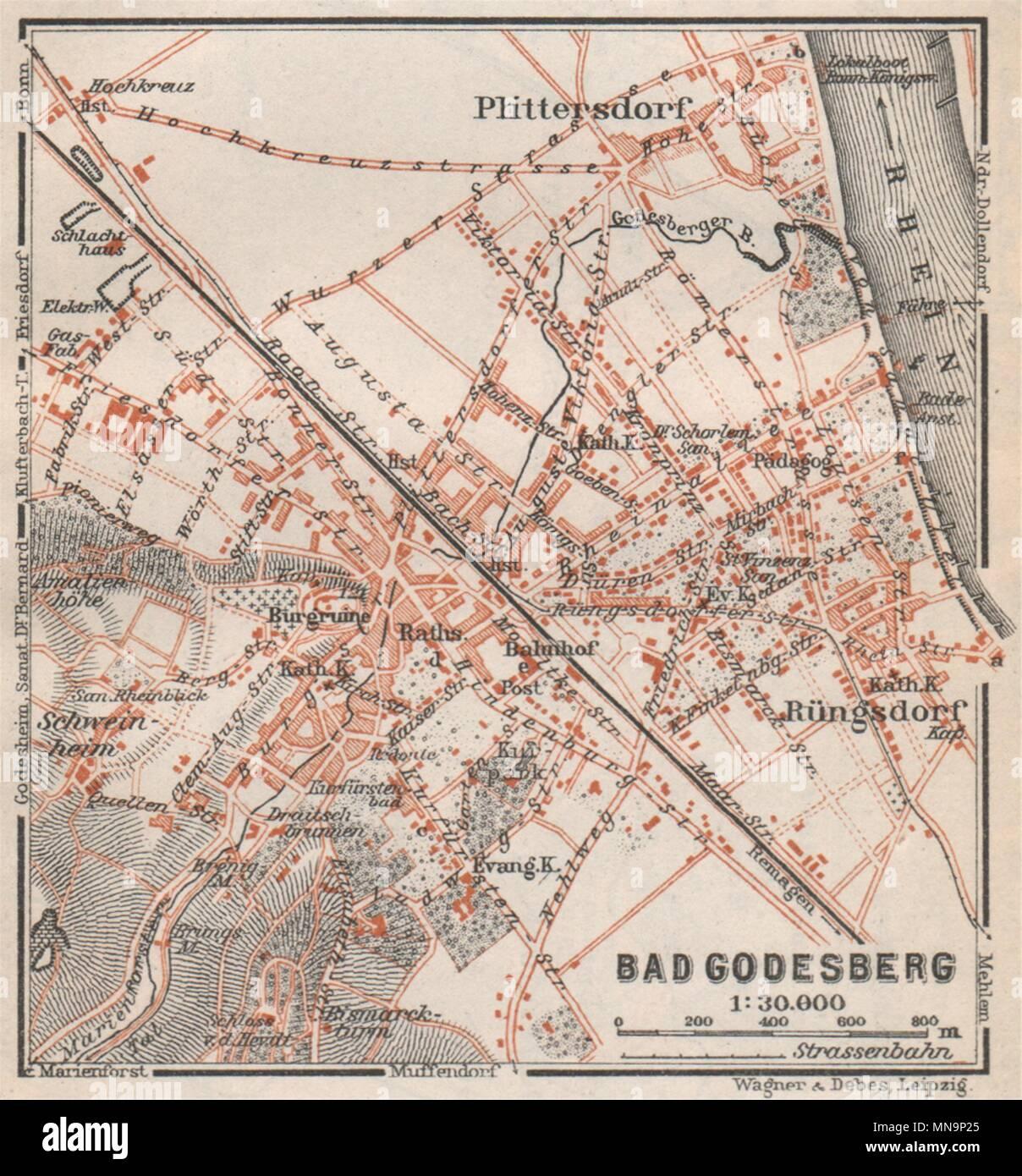 Bonn Karte.Bad Godesberg Stadt Stadtplan Bonn Nordrhein Westfalen Karte