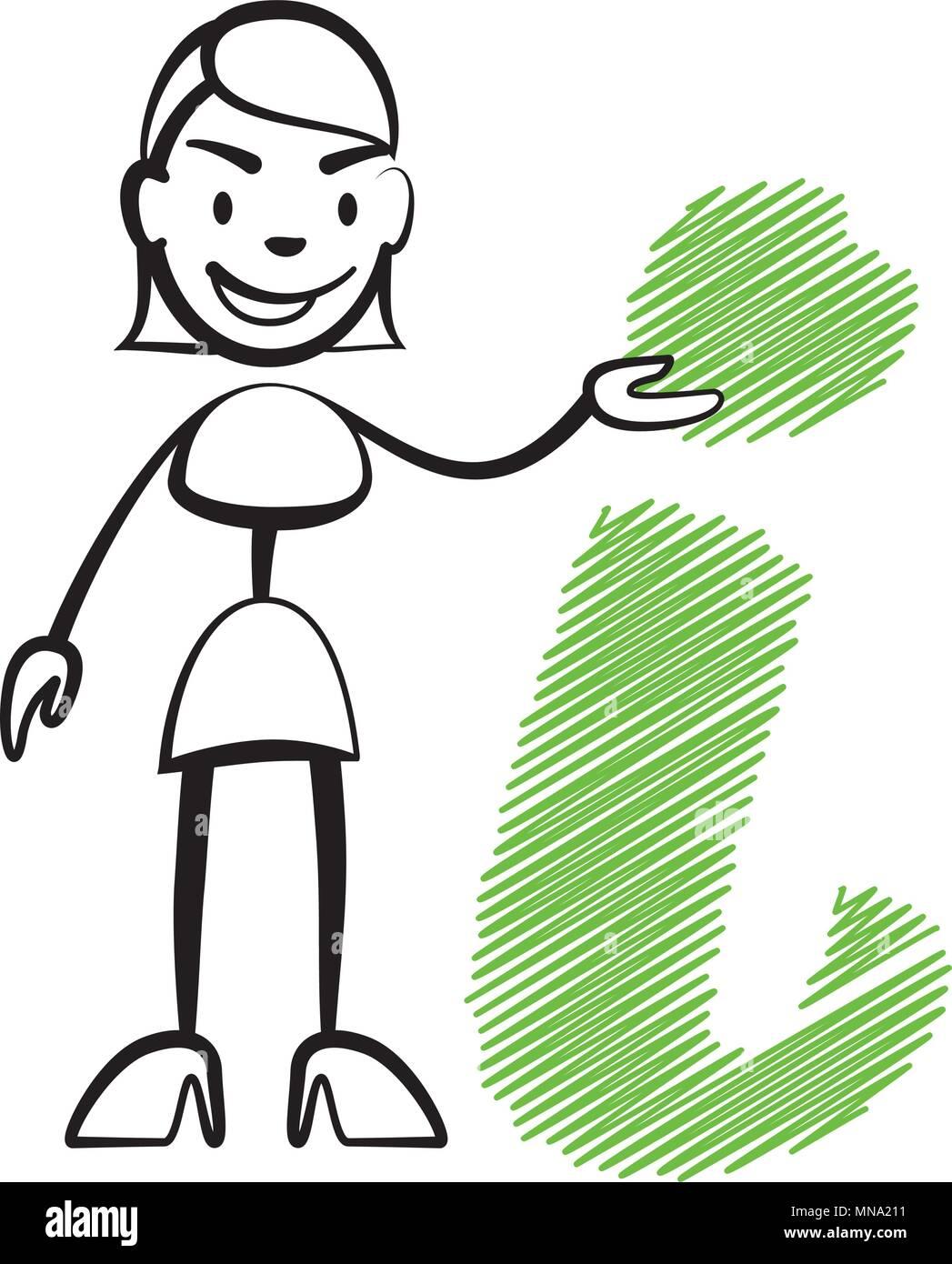 Strichmännchen Frau Mit Info Schild Stickman Vektor Zeichnung Auf
