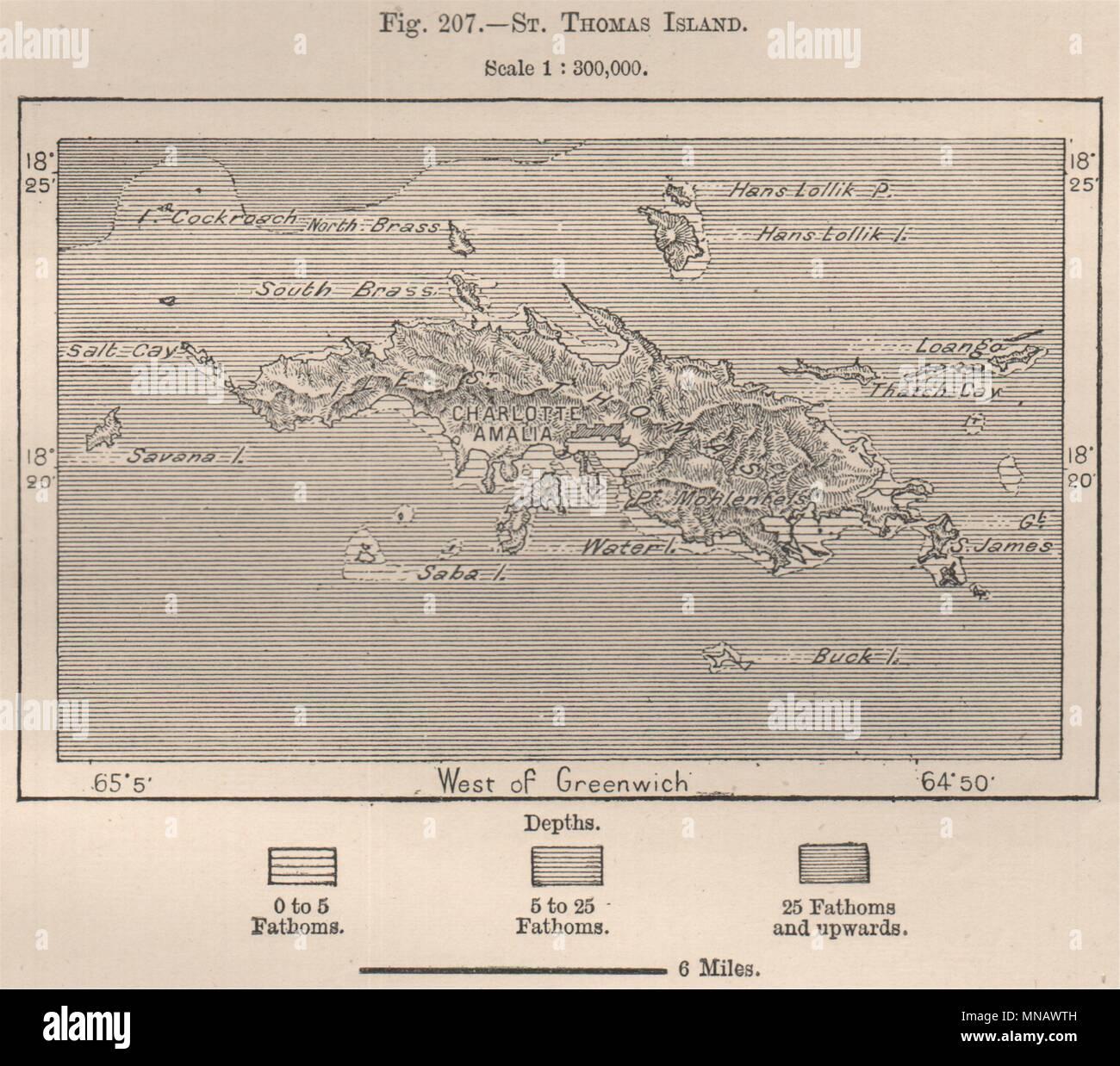 St. Thomas Insel. Virgin Islands 1885 alte antike vintage ...