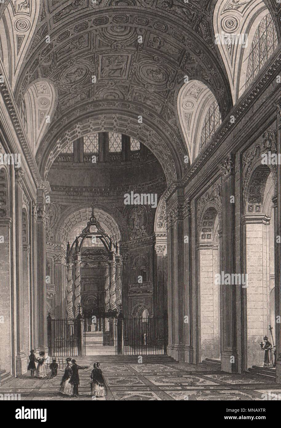 PARIS. Interieur de la Chapelle Val de Grace. BICKNELL 1845 alten, antiken Drucken Stockbild
