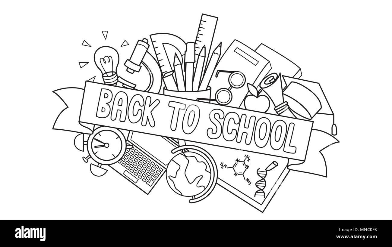 Doodle der Studenten liefert mit Zurück in die Schule label Vor für Design Element und Malbuch Seite für Kinder. Vector Illustration Stockbild