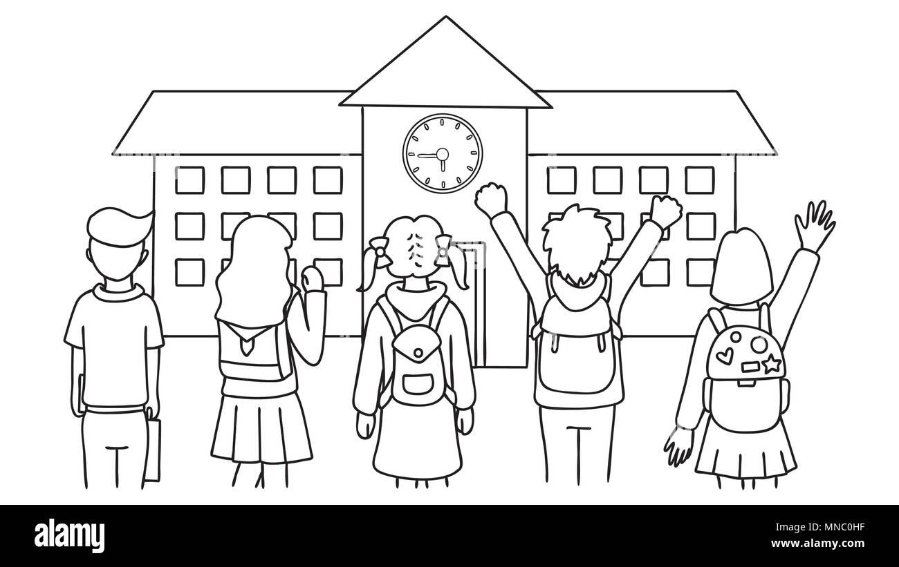 Hand gezeichnet sch ler vor der schule stehen zur ck in for Schule fur mode und design
