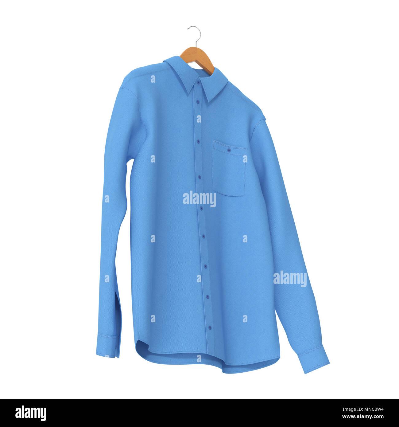 purchase cheap 1990f 32ef3 Blaues Hemd auf Kleiderbügel auf weißem Hintergrund. 3D ...