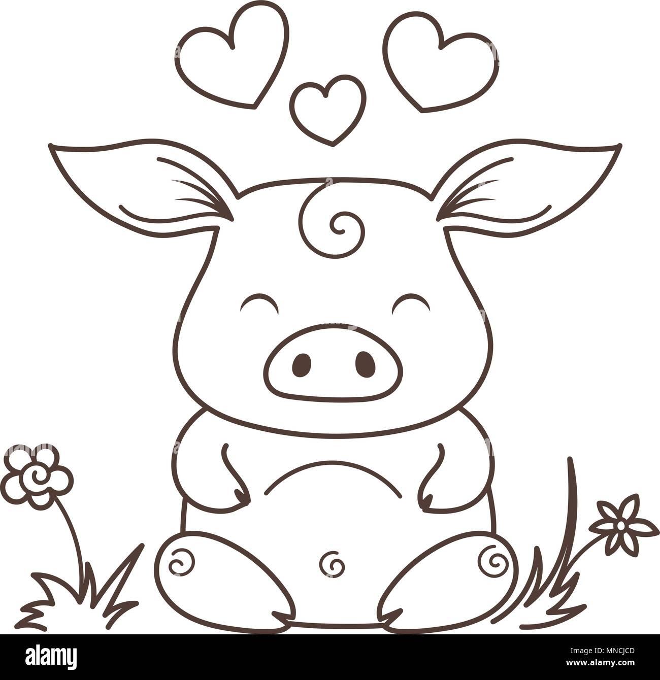 Cute cartoon Schwein in der Liebe. Symbol des Neuen 2019 Jahr ...