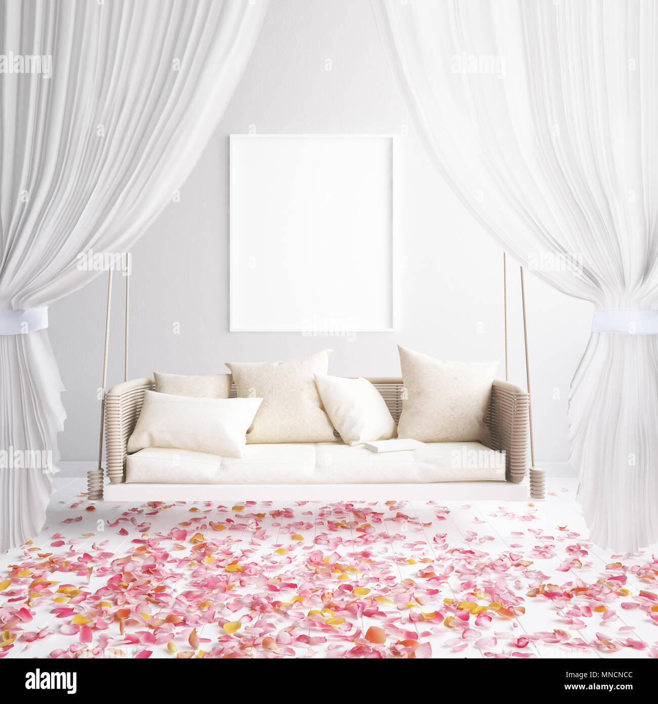 Romantische Interieur Hintergrund, skandinavischen Stil, 3D ...