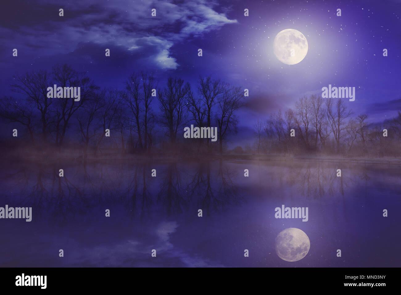 Nacht der Mond im See widerspiegeln Stockfoto