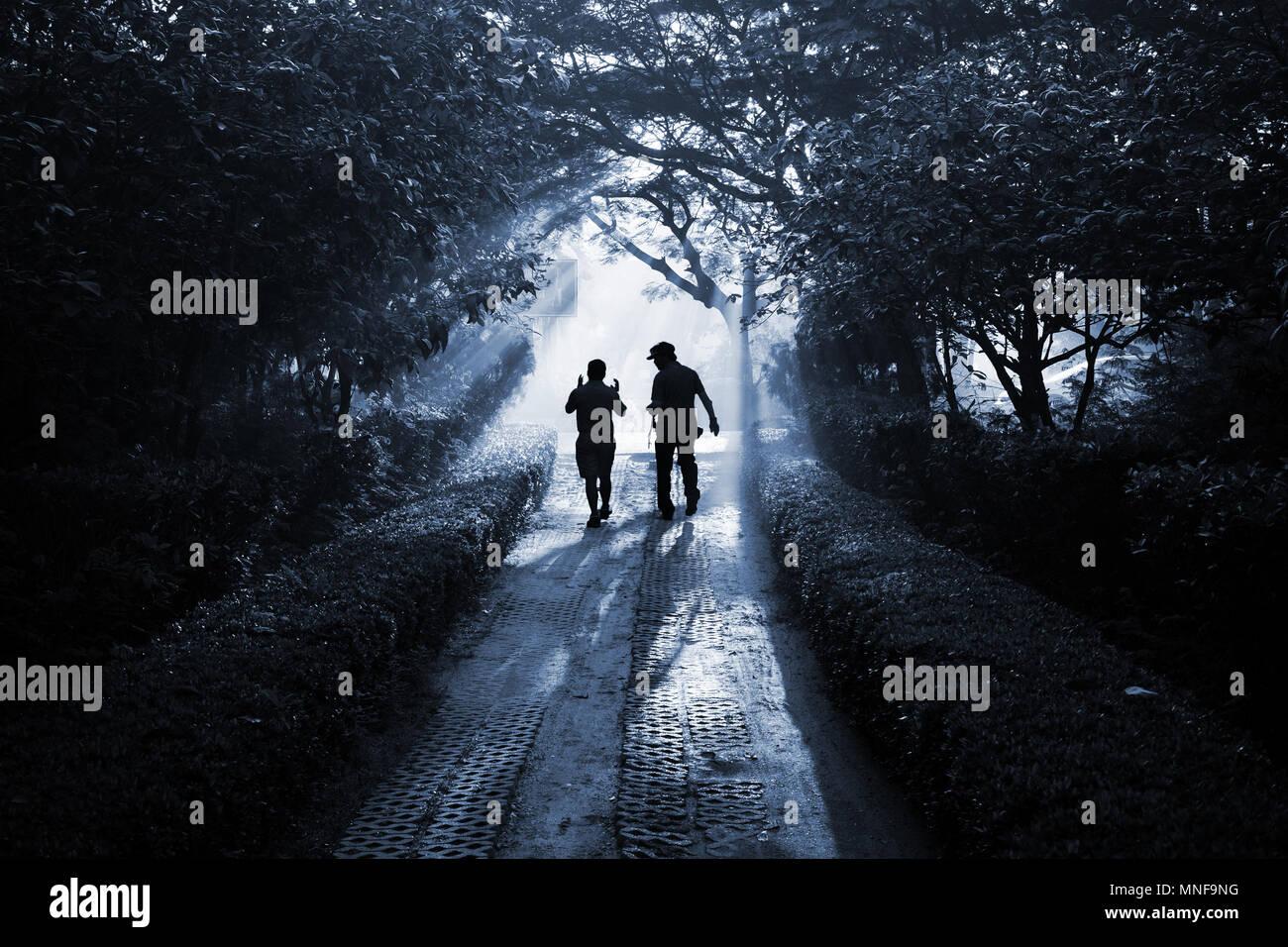 silhouette zwei menschen zu fu und auf dem weg durch den wald als freunde wie sie sind auf dem. Black Bedroom Furniture Sets. Home Design Ideas