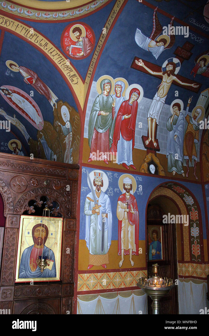 Saint Davids Kirche auf dem Berg Mtatsminda in Tiflis Stockbild