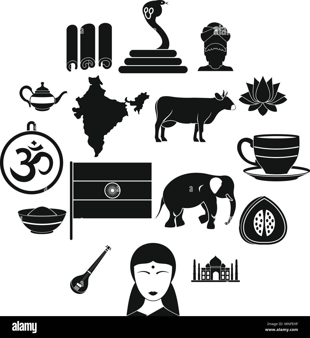 Indien Reisen Symbole Gesetzt Einfachen Stil Vektor Abbildung