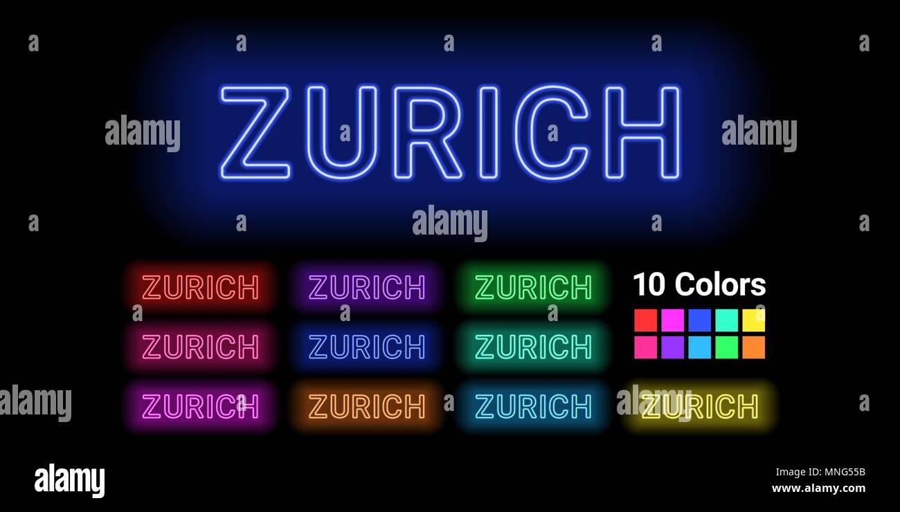 Neon Name der Stadt Zürich. Vector Illustration von Zürich Inschrift aus Neon auf dem dunklen Hintergrund skizziert, mit Hintergrundbeleuchtung. Der unterschiedliche Stock Vektor