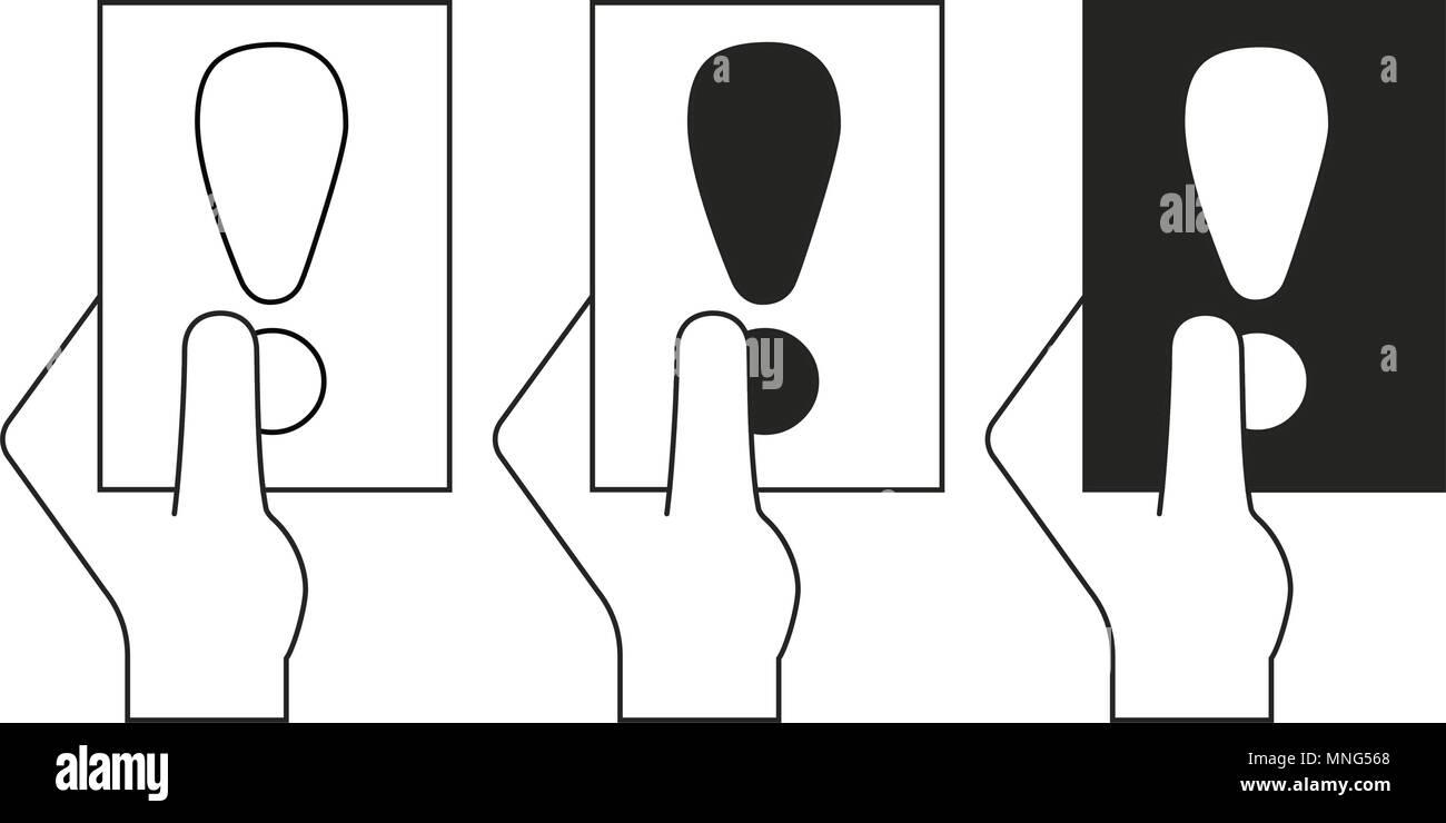 Schwarz Und Weiss Fussball Karte In Handen Sport Thema Vector