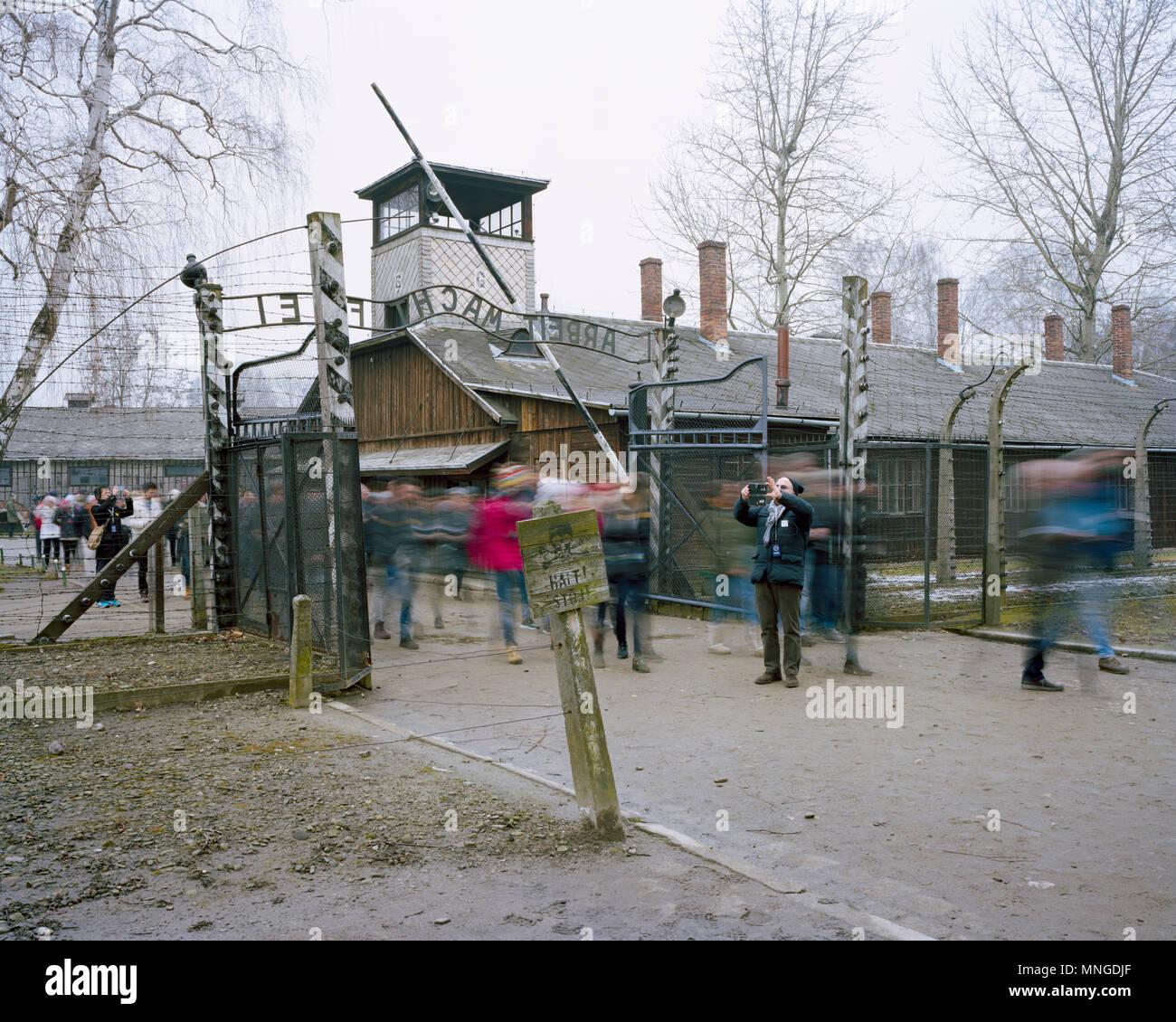 Foto John angerson Befreit am 27. Januar 1945. Auschwitz II Birkenau concentration camp in Süd- West Polen Stockbild