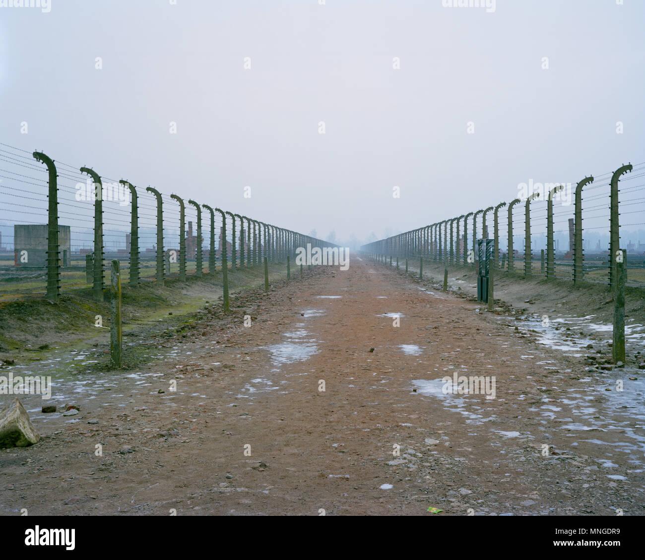 Foto © Johannes Angerson befreit am 27. Januar 1945. Auschwitz II Birkenau Konzentrationslager in der Stadt South West Polen. Stockbild