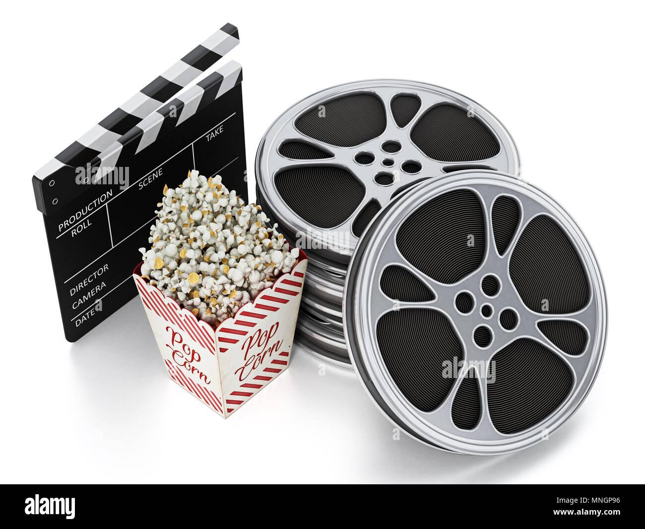 Vintage Popcorn, Schindeln und Film Schiefer auf weißem Hintergrund ...