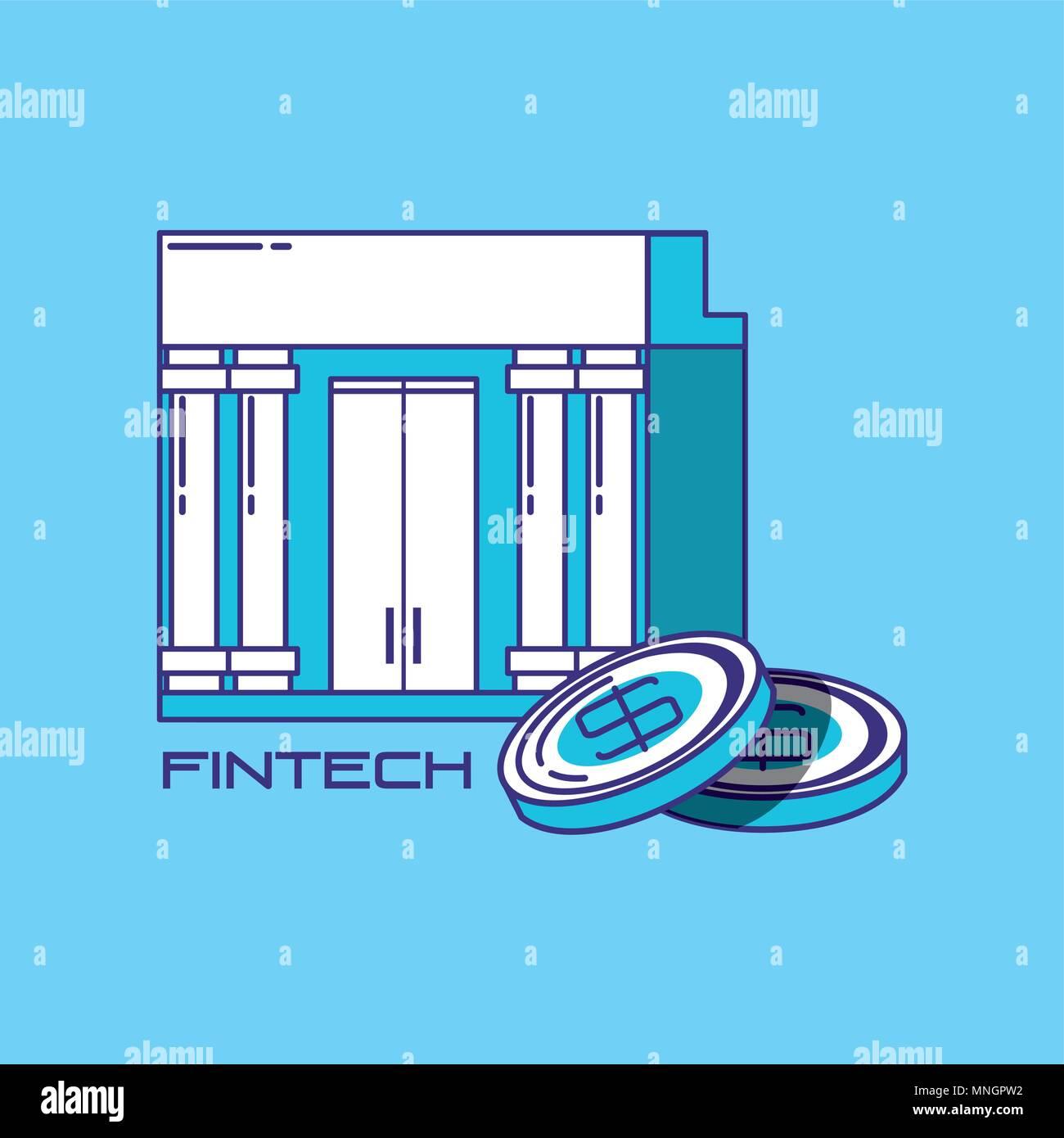 Finanzielle Technologie Konzept mit Bank Gebäude und Münzen über blauen Hintergrund, Vektor, Abbildung Stockbild