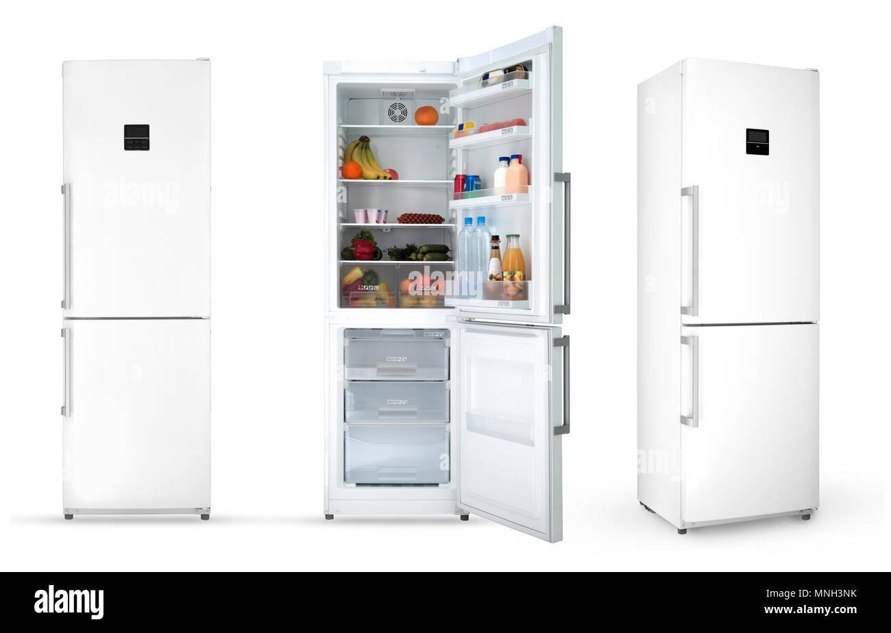 Moderner Haushalt Kühlschrank mit Essen, drei Winkel, isoliert ...