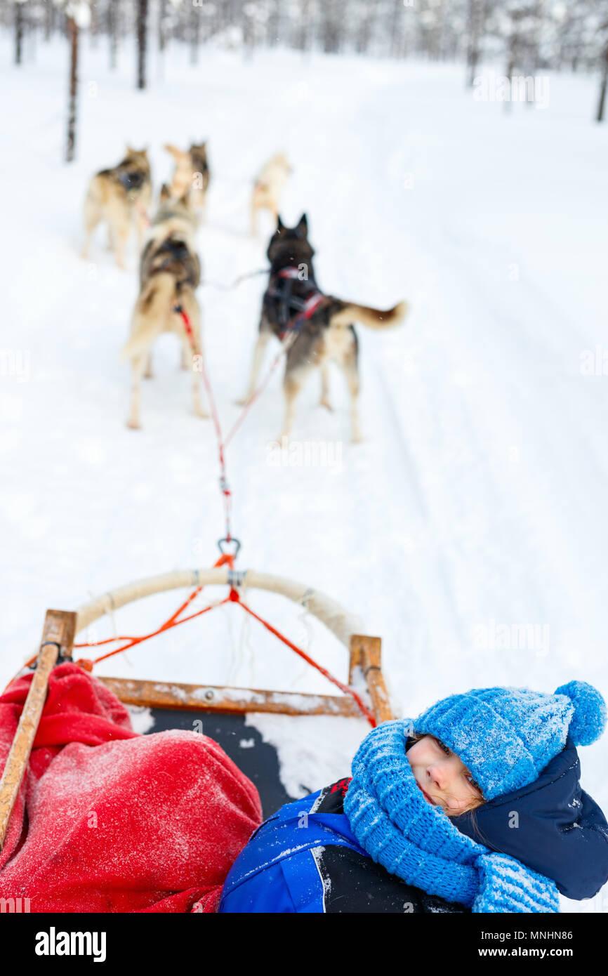 Husky Hunde ziehen Schlitten mit einem Kind im Winter Forest in Lappland Finnland Stockbild