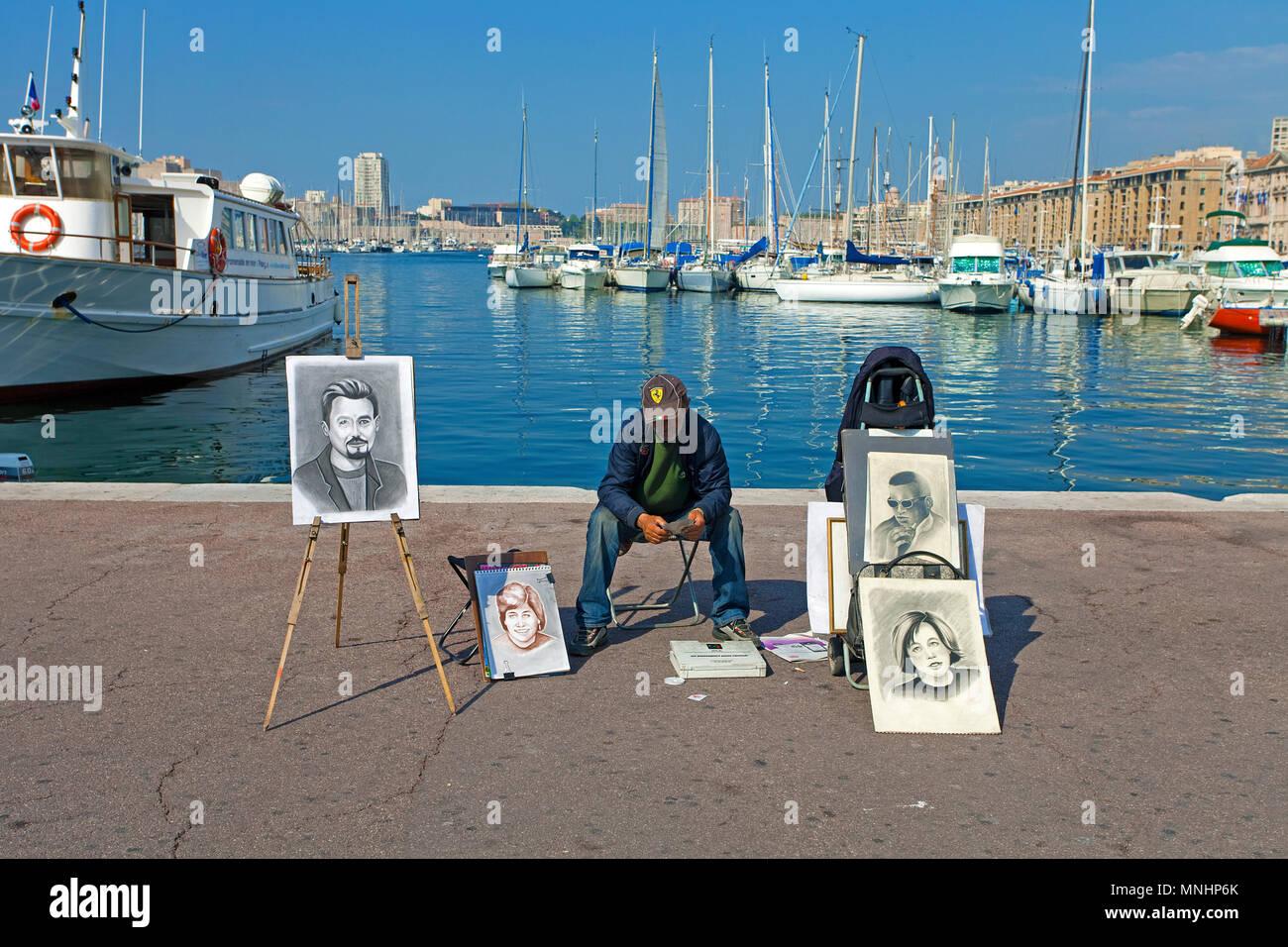 Portrait Schublade am Hafen Vieux Port, Marseille, Bouches-du-Rhône der Region Provence-Alpes-Côte d'Azur, Südfrankreich, Frankreich, Europa Stockbild