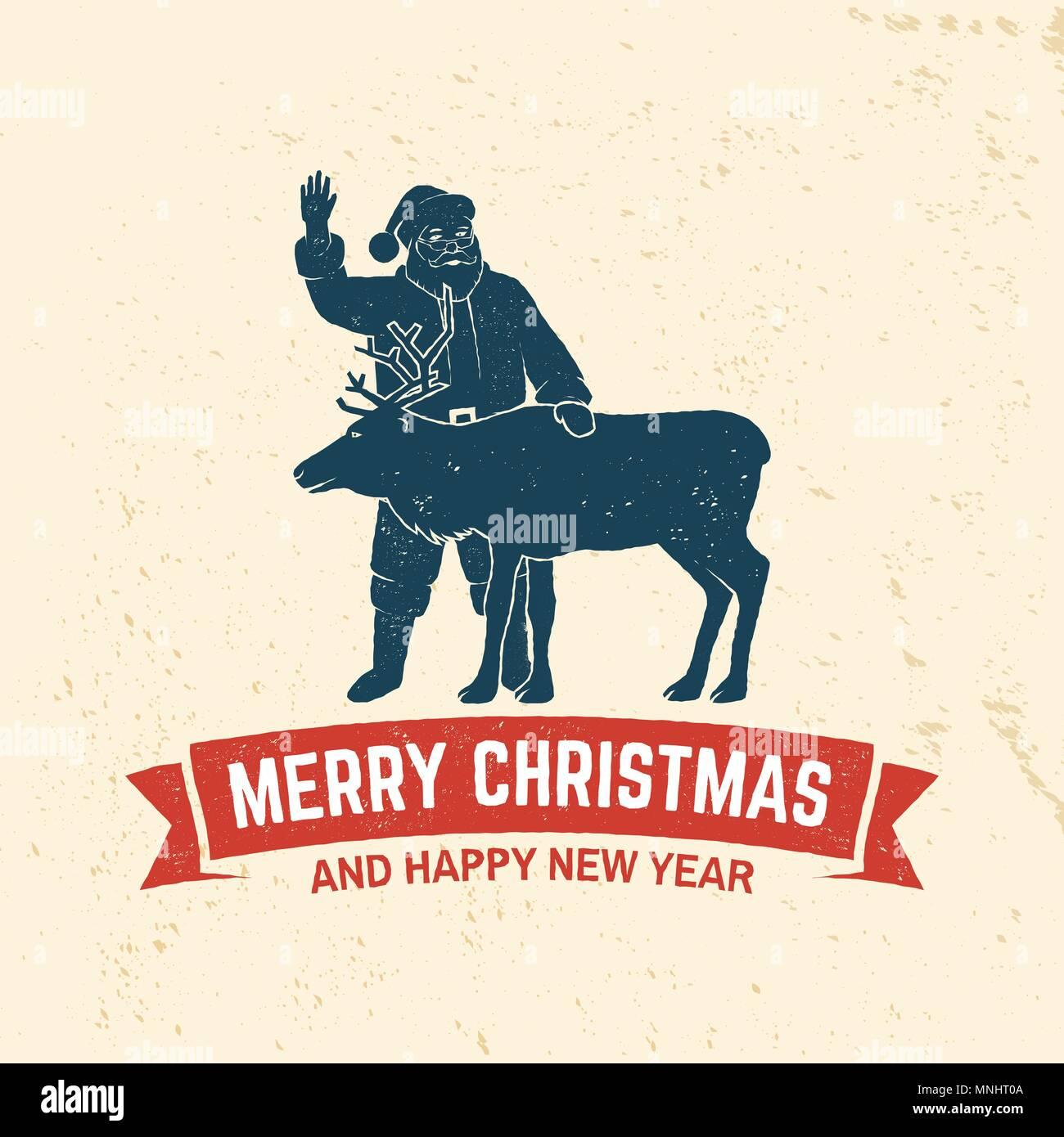 Frohe Weihnachten und guten Rutsch ins Neue Jahr retro Template mit ...