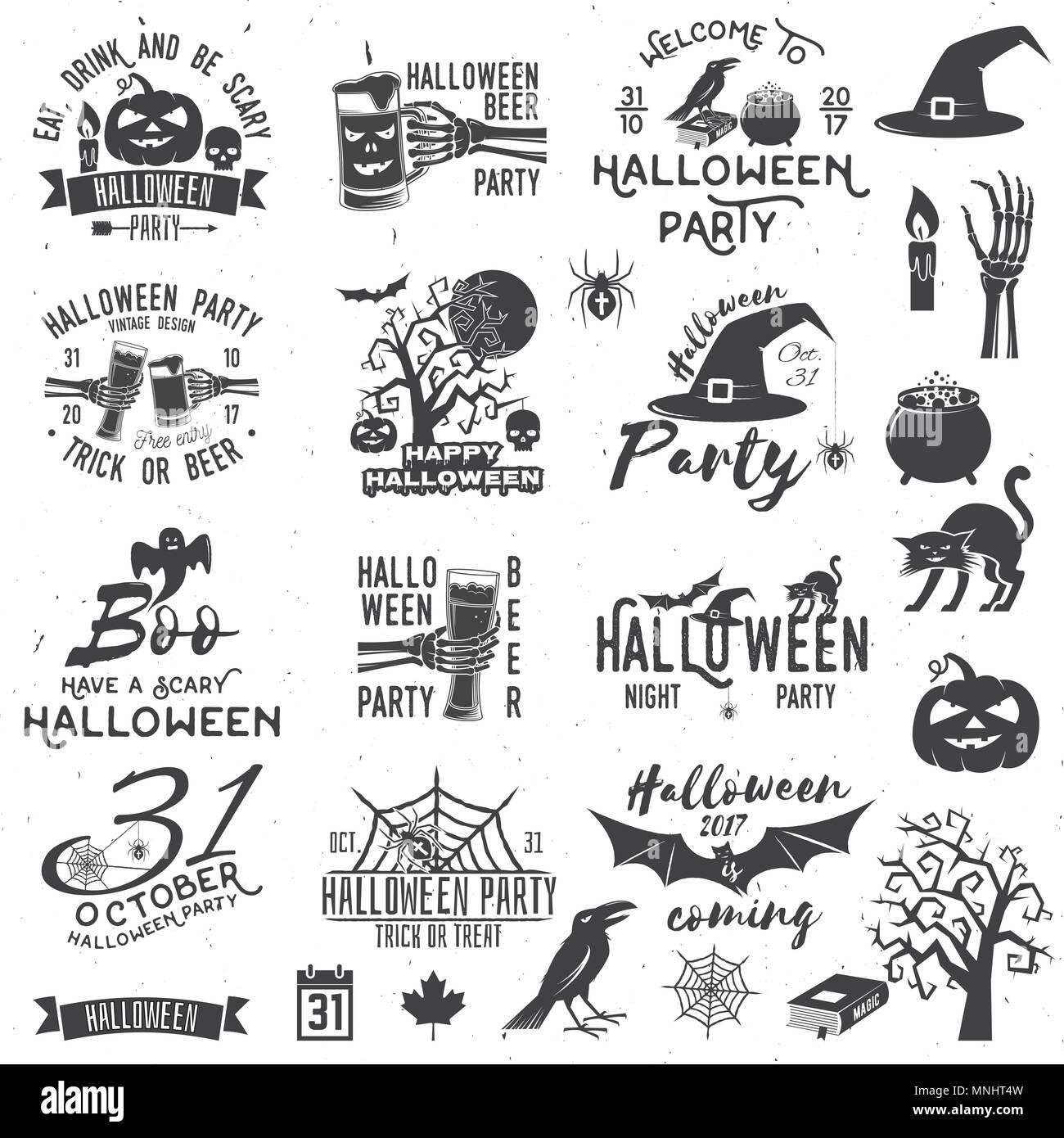 Satz Von Halloween Party Konzept Und Design Elemente Halloween