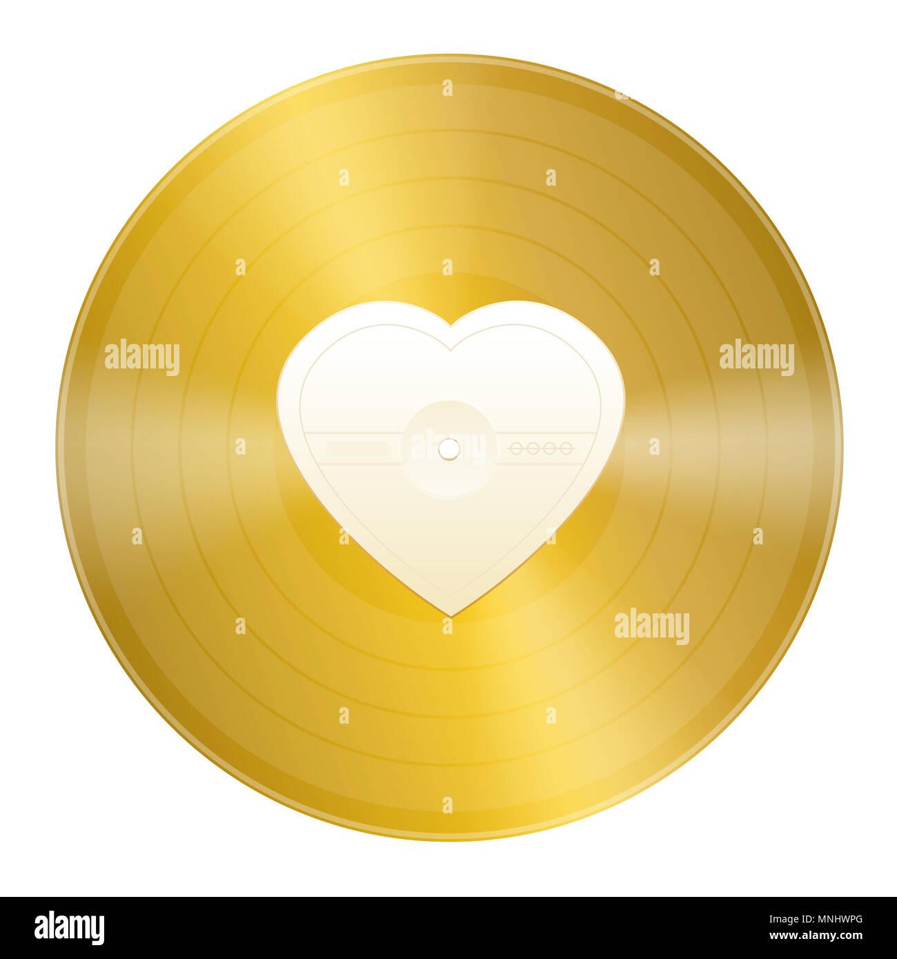 Goldene Schallplatte Mit Leeren Herzförmige Zentrum