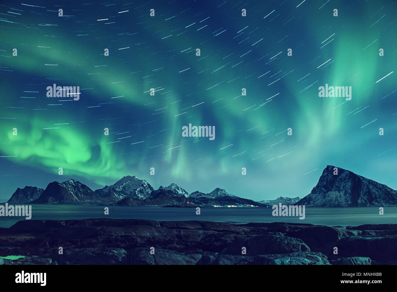 Nordlichter in Norwegen Stockbild