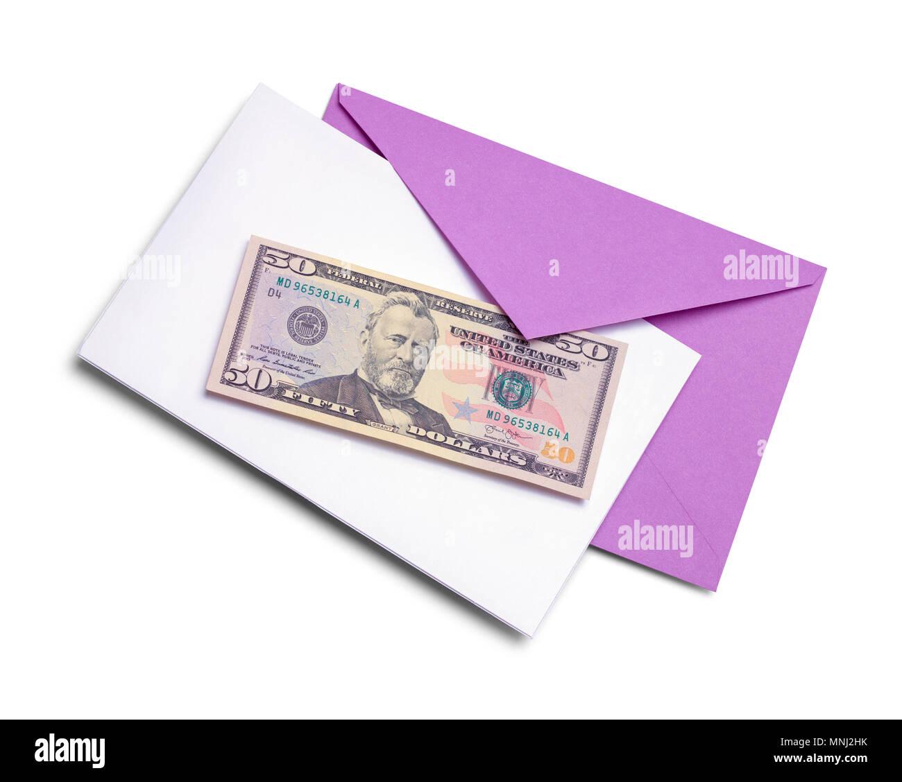Geburtstagskarte mit Geld isoliert auf weißem Hintergrund. Stockbild
