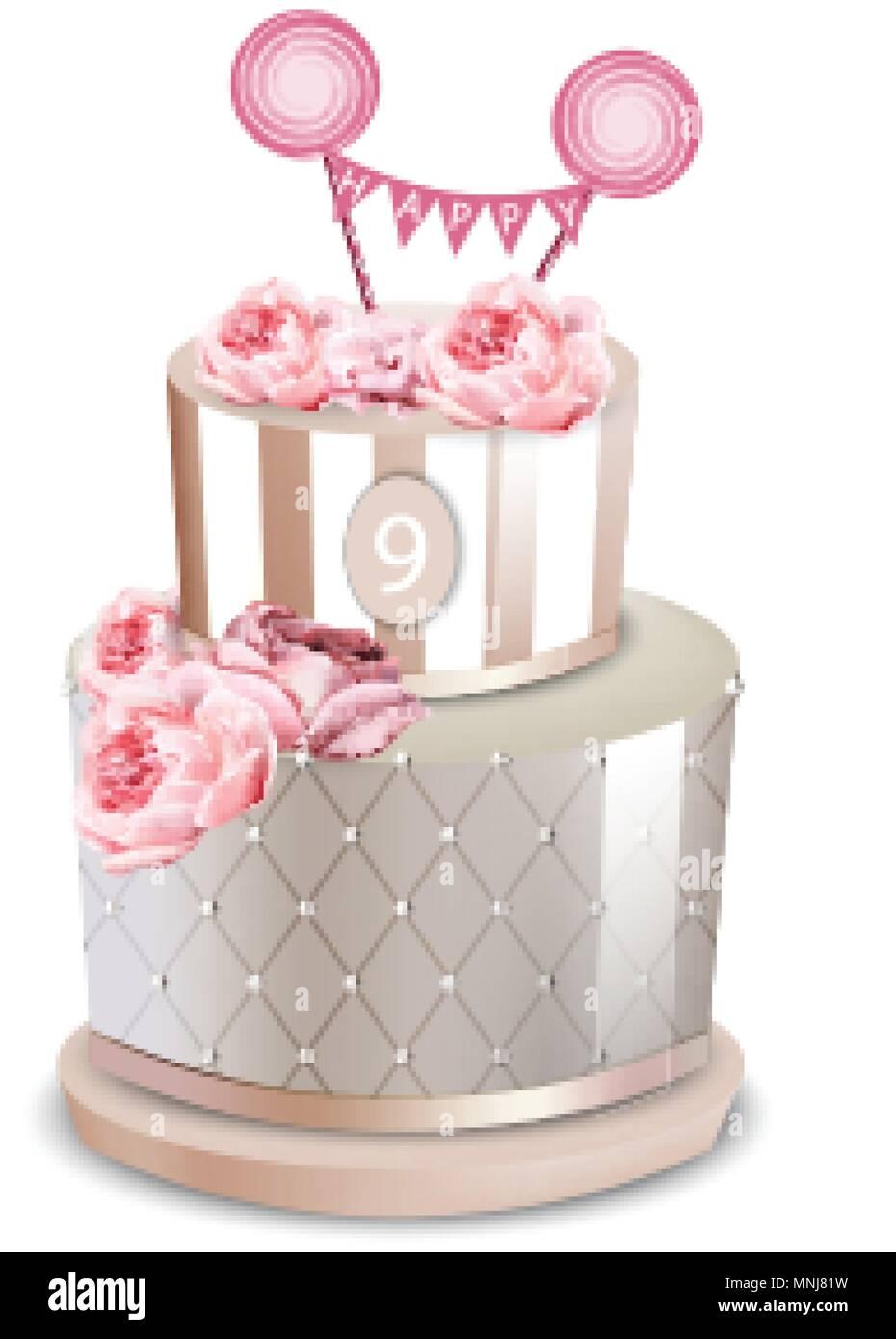 Hochzeitstorte Vektor Realistisch Jahrestag Geburtstag Zeremonie