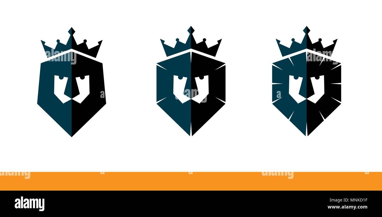 Lion\'s Head oder Abschirmung mit Krone auf Weiß. Firmenname ...