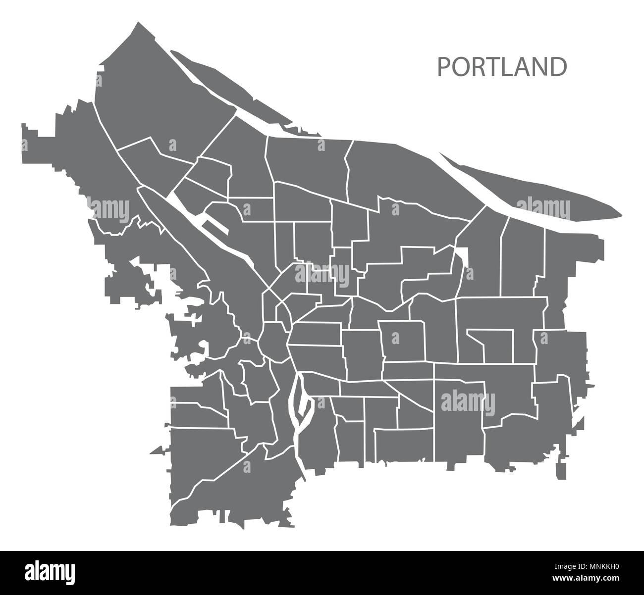 Portland Oregon Stadtplan mit nachbarschaften Grau Abbildung ...