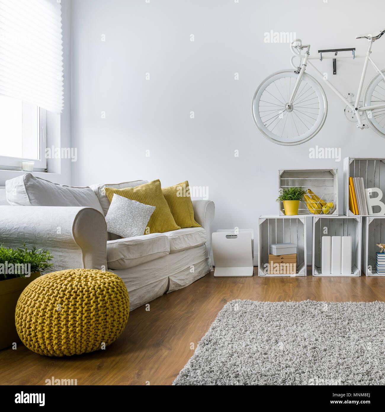 Modernes Wohnzimmer Mit Einem Sofa, Teppich, Holzpaneele Und Bike Hängen An  Der Wand
