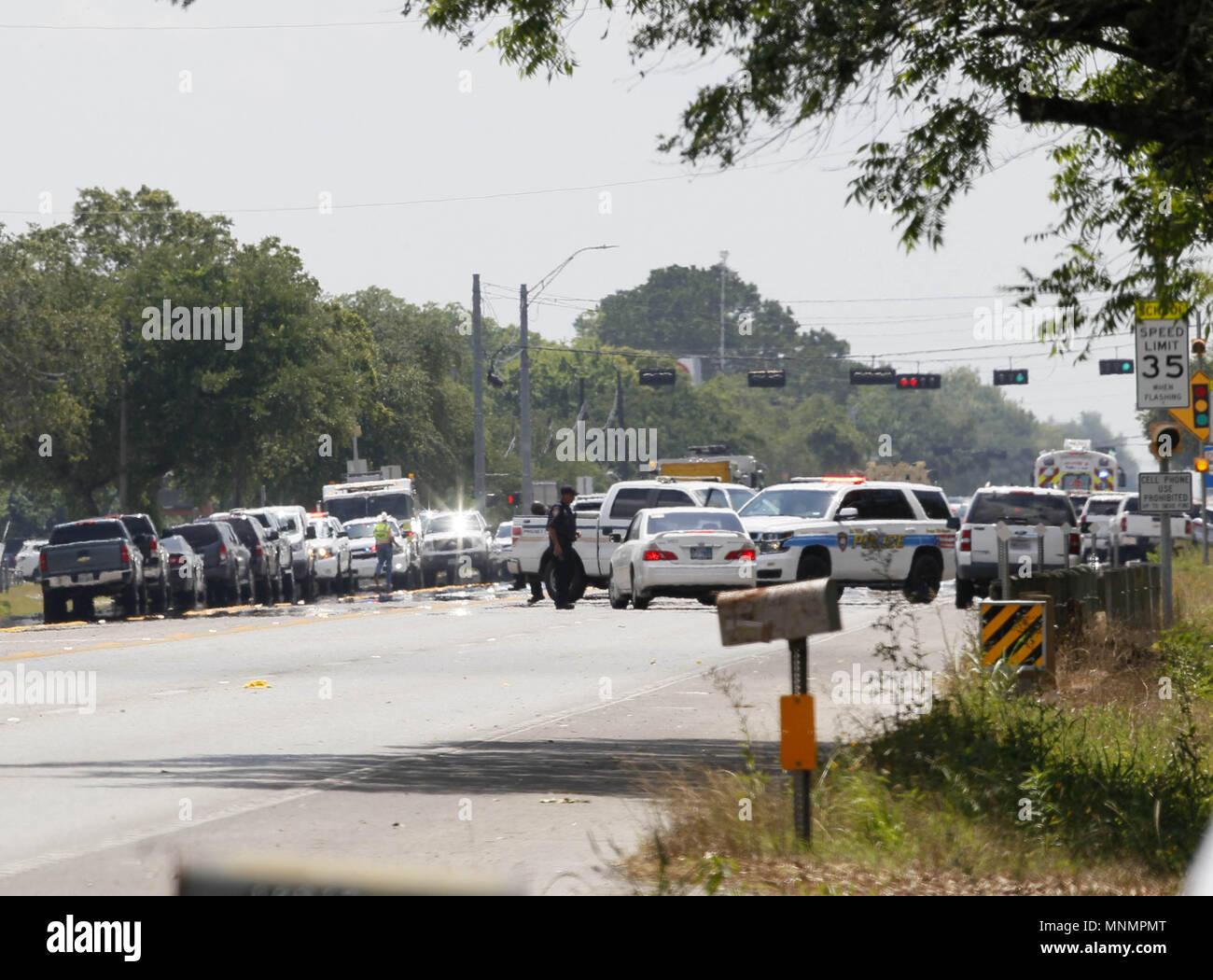 Houston Usa 18 Mai 2018 Polizei Autos Sind Rund Um Santa Fe High