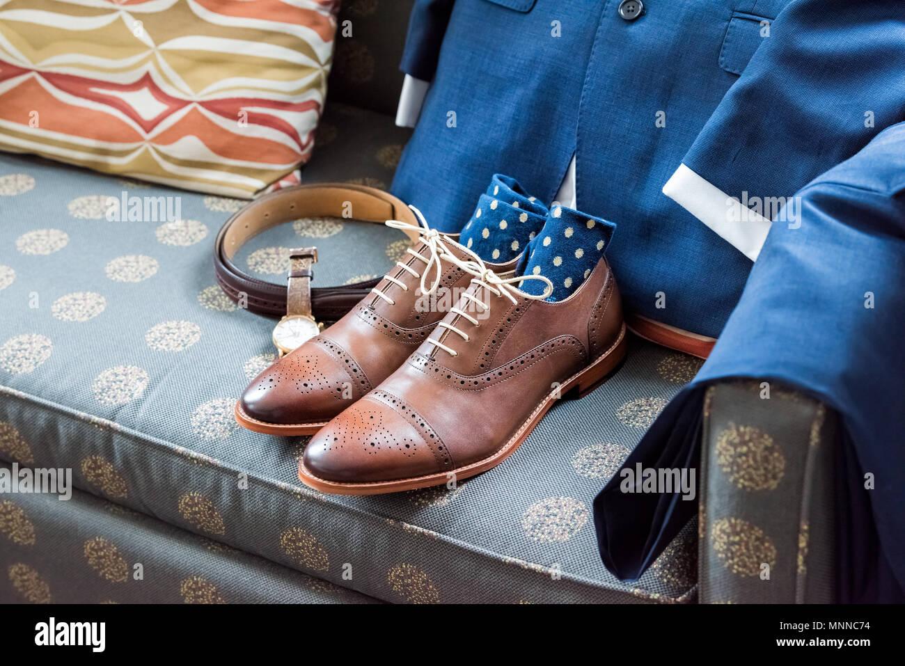 uk availability fc1b0 6f068 Leder Herren neue braune Schuhe closeup noch Leben auf der ...