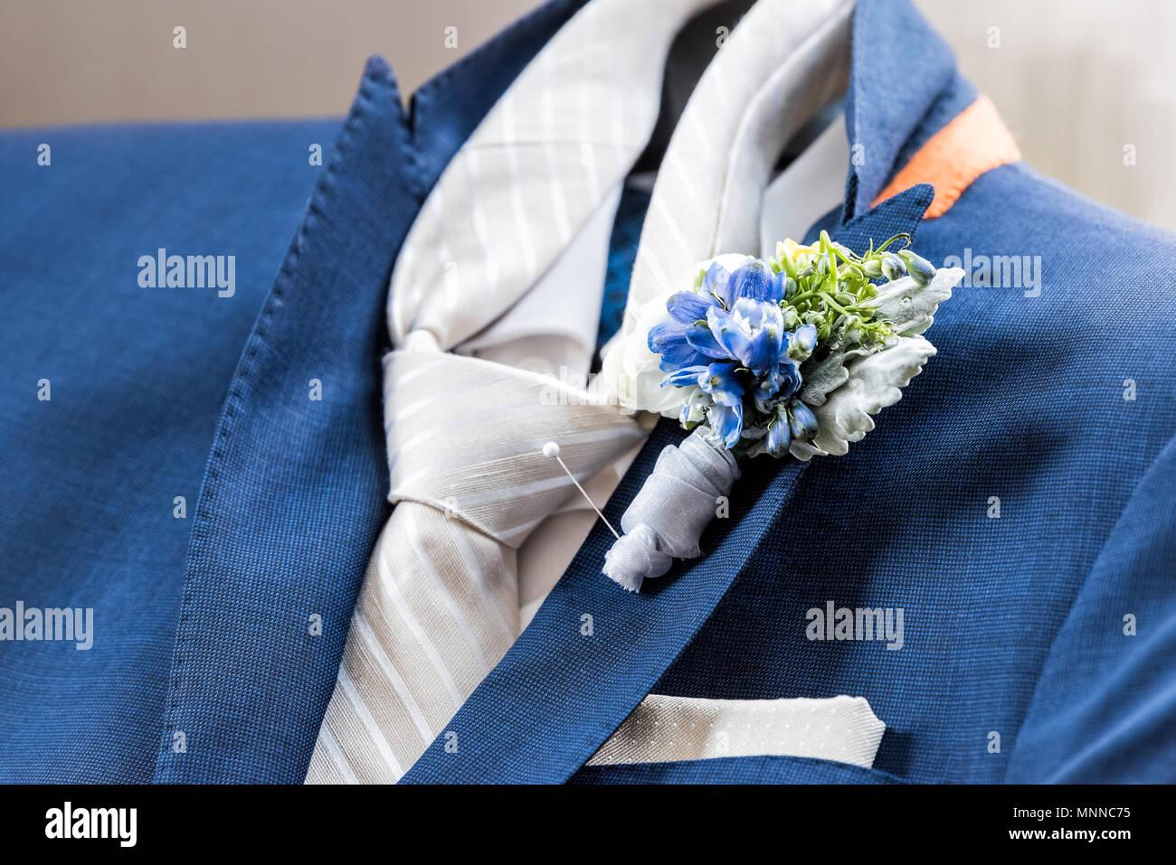 Manner Neue Marine Marine Blau Anzug Und Krawatte Brautigam Closeup