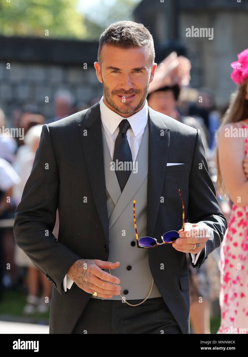 David Beckham Kommt An Der St George S Chapel Auf Schloss Windsor
