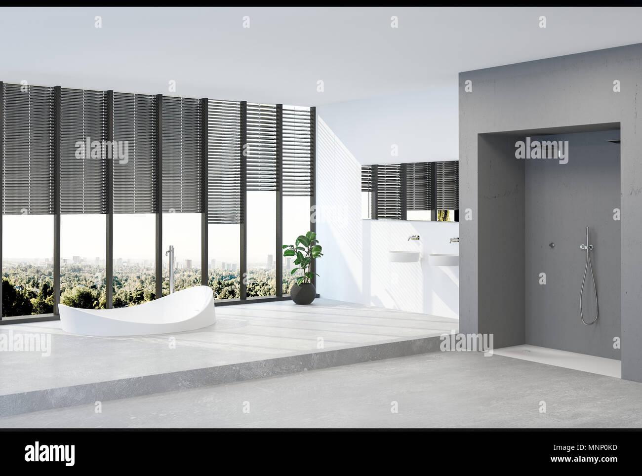 Ein modernes minimalistisches penthouse bad mit herrlichem blick