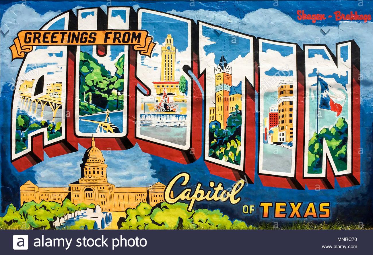 Grüße aus Austin, Texas - Graffiti an der Wand Stockbild