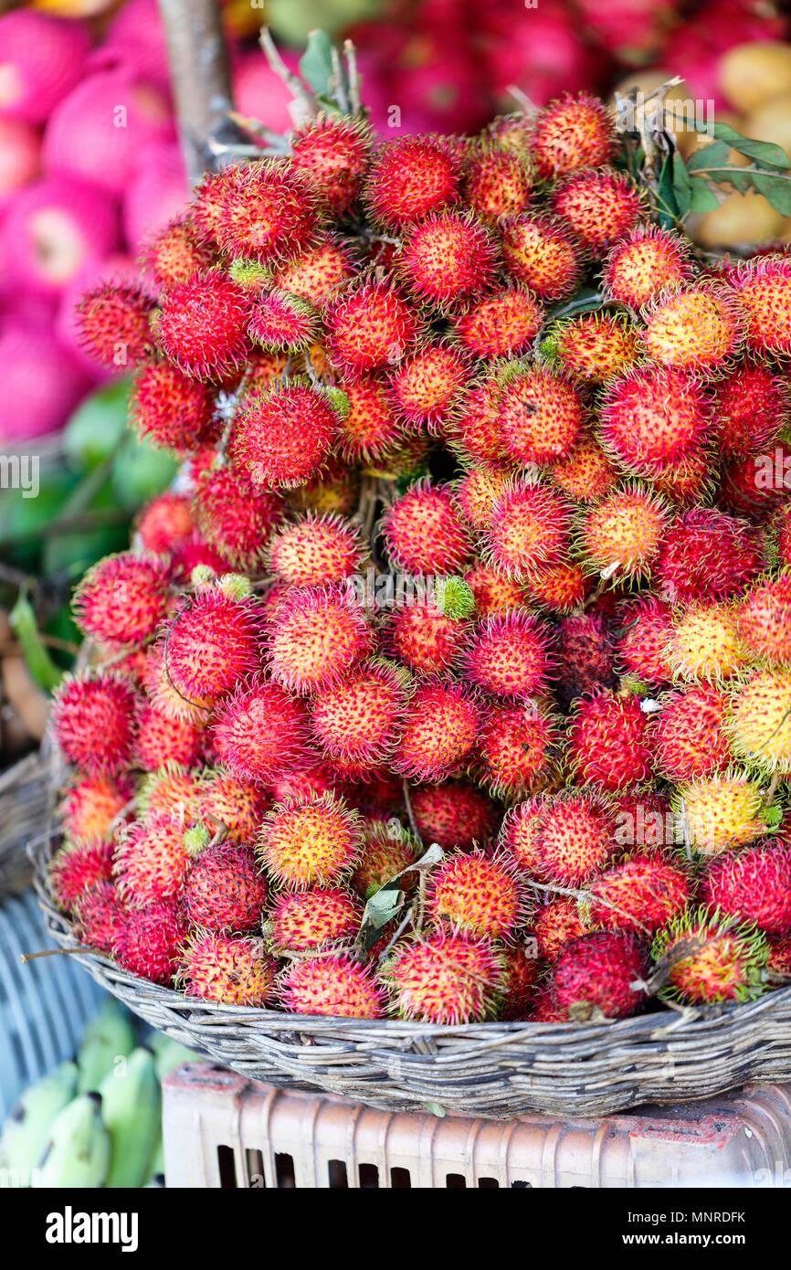 Auswahl an frischen exotischen Rambutan Früchte am Marktstand Stockbild