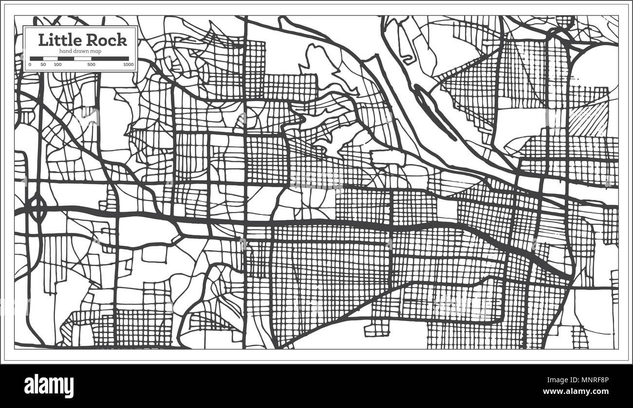 Little Rock USA Stadtplan im Retro-stil. Übersichtskarte. Vector ...