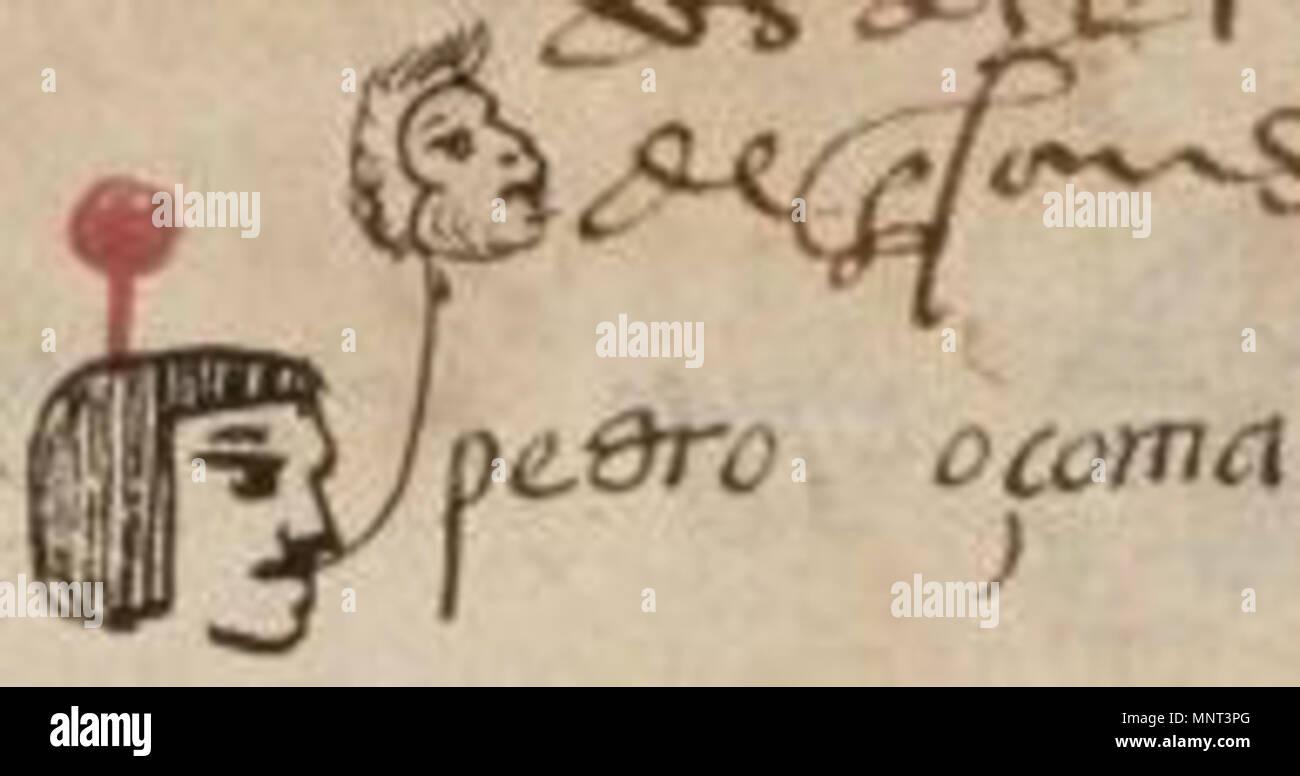 . Der Name Pedro Ozoma, aus der Matricula de Huexotzinco. 1560. Diese Datei fehlt, Informationen zum Autor. 970 Pedro ozoma Stockfoto