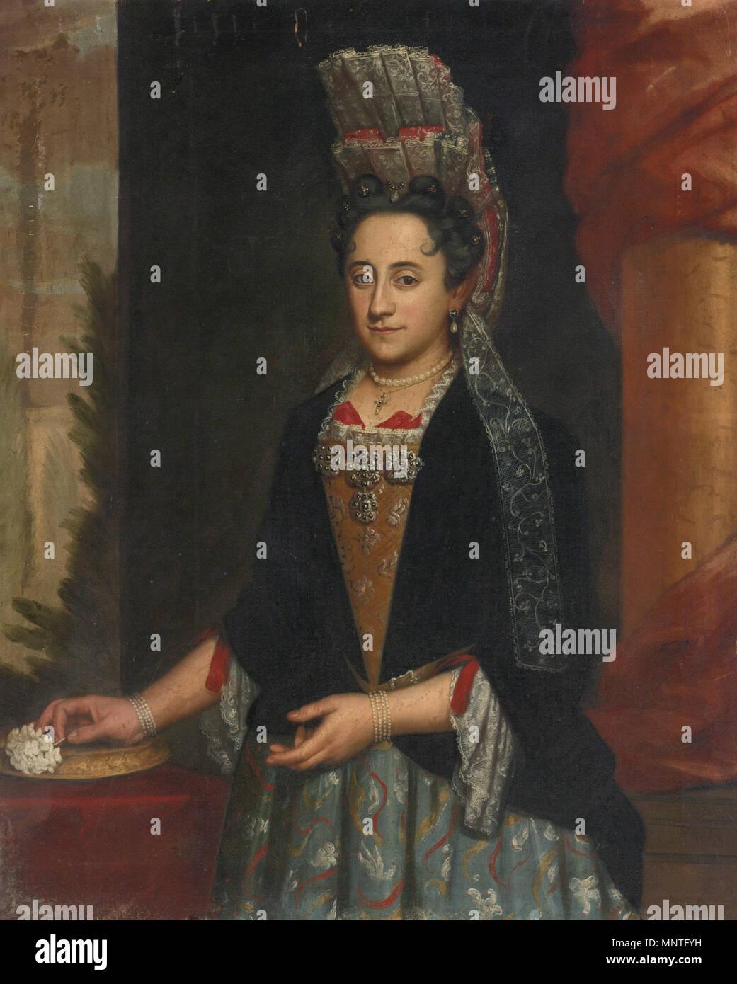 englisch: bildnis einer dame, halbe länge, in einem mantua