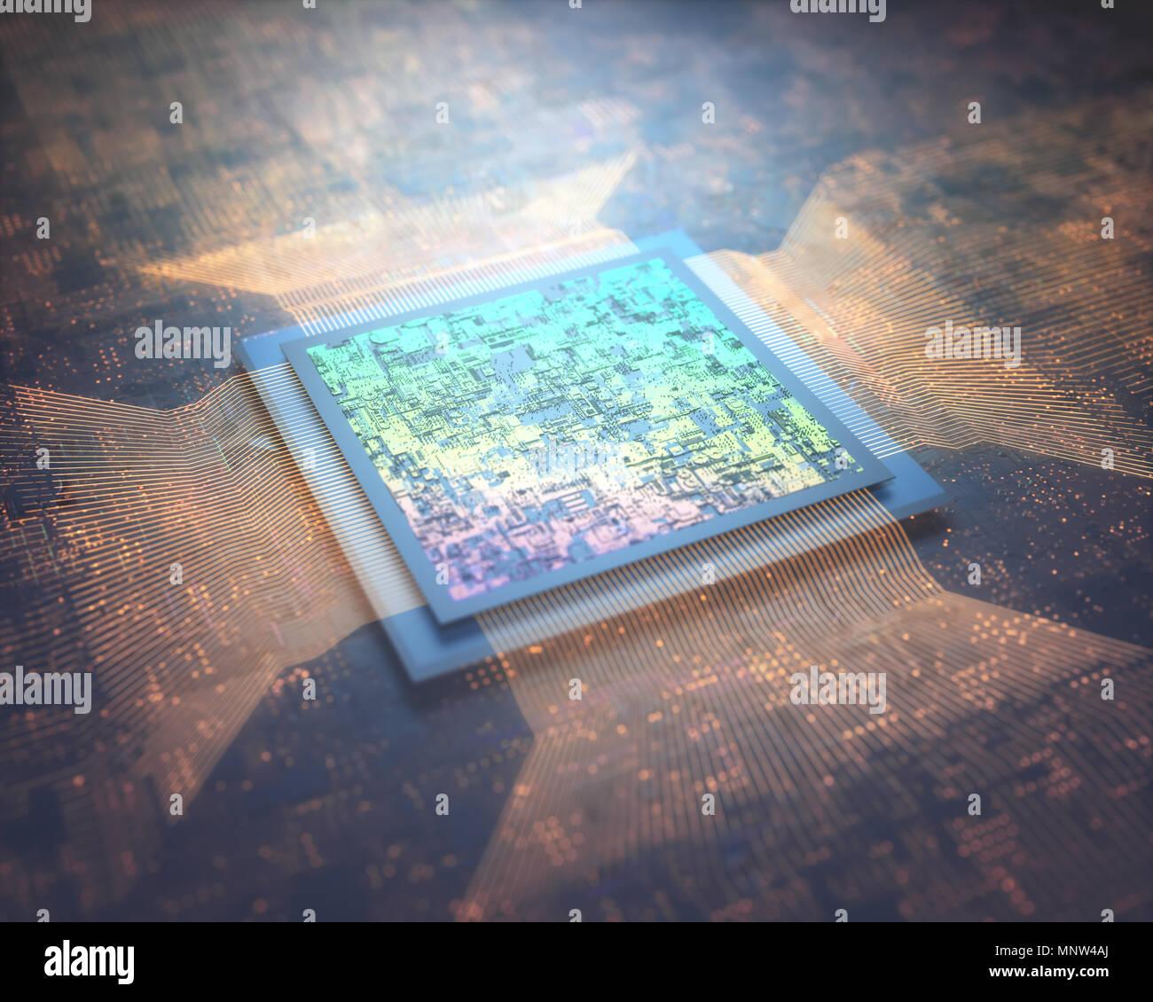 Mikroprozessor, microchip Verbindung zur Leiterplatte. Abstraktes Bild, Makro- und Nanotechnologie. Stockbild