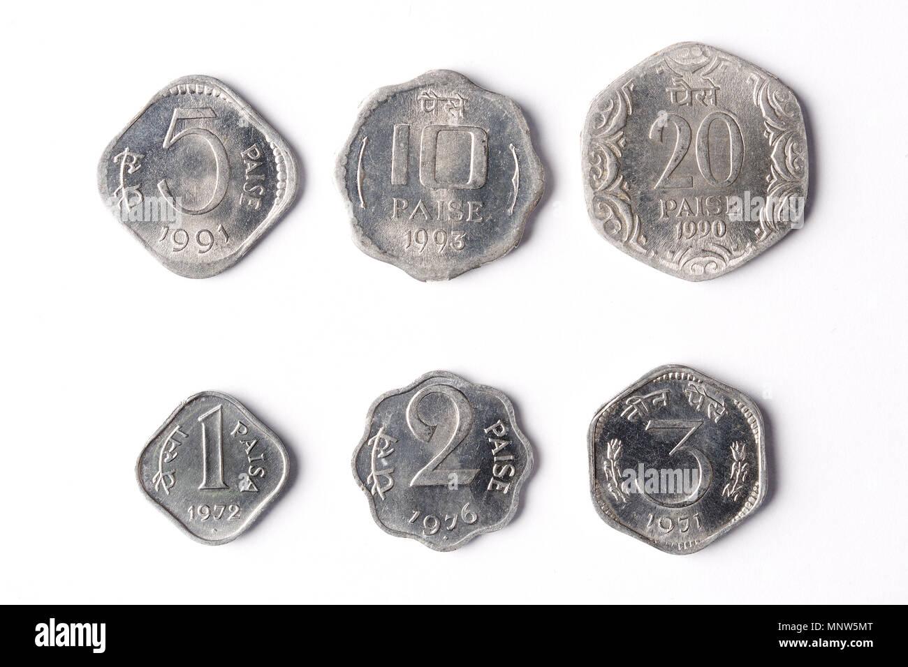 Alte Indische Münzen Paise Stockfoto Bild 185564760 Alamy