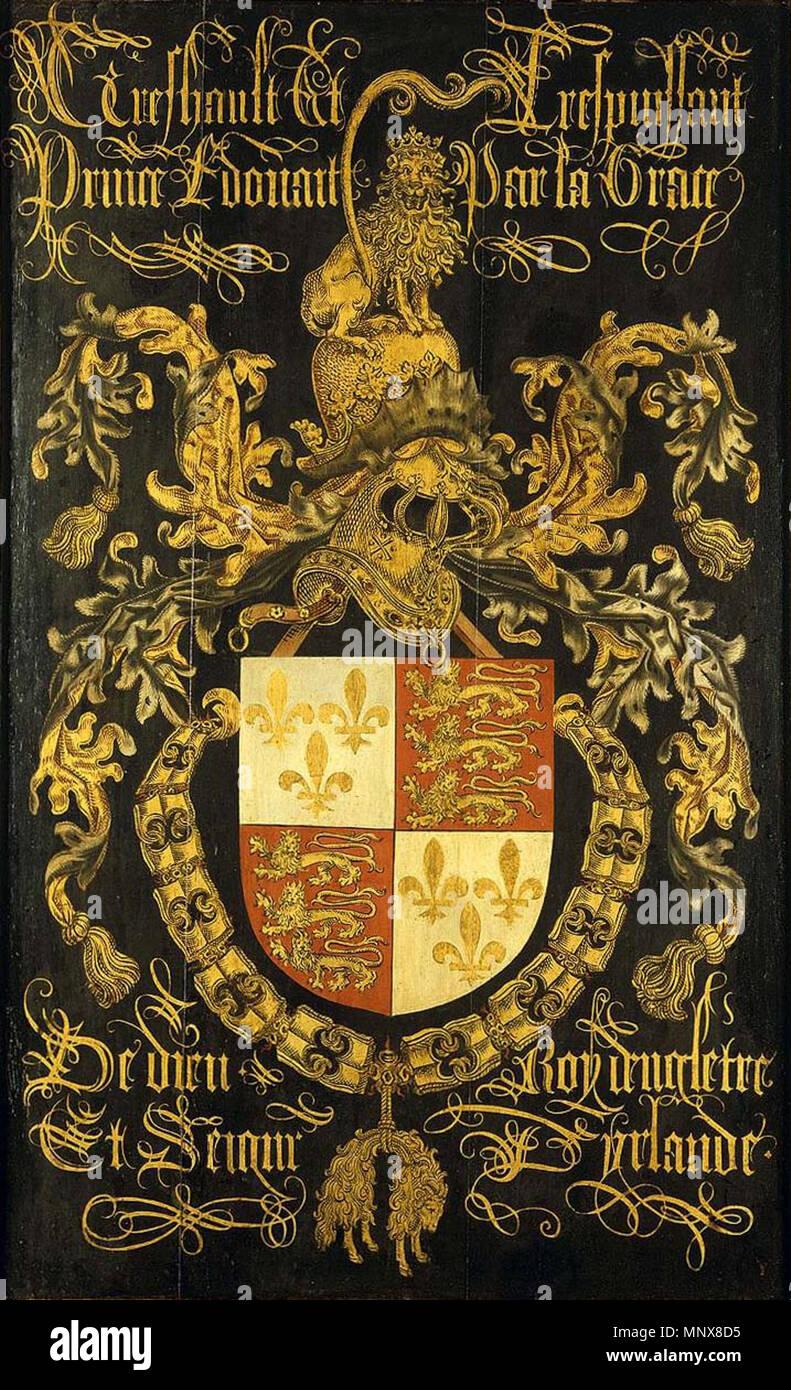 Wappen von Eduard IV., König von England, als Ritter im Orden vom Goldenen Vlies ca. 1481. 1115 Schild von Edward IV als Ritter des Ordens vom Goldenen Vlies Stockfoto